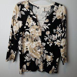 White House Black Market floral Cardigan 3/4 sleev